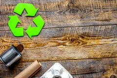 Environment concept with recycling symbol on rustic background top view mockup royalty free stock photography
