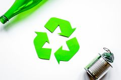 Environment concept with recycling symbol on white background to. Environment concept with recycling symbol for garbage disposal on white table background top Stock Image