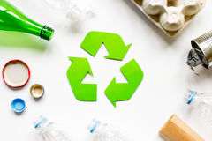 Environment concept with recycling symbol on white background top view Stock Photography
