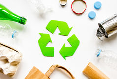 Environment concept with recycling symbol on white background top view Royalty Free Stock Images