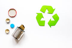 Environment concept with recycling symbol on white background top view mock-up Stock Photography