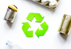 Environment concept with recycling symbol on white background top view mock-up Stock Photo