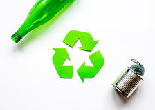 Environment concept with recycling symbol on white background top view mock-up Stock Image