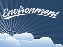 Environment. Creative visualization on the topic of environmental issues and climate change on vintage background with clouds Stock Photo