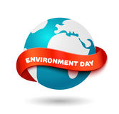 Environment day concept. Big Earth globe with curve red ribbon and space for text Stock Image