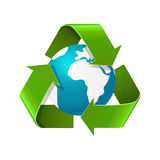 Environment day concept. Realistic vector illustration of Eath globe with recycle arrows. Eco symbol Royalty Free Stock Photography