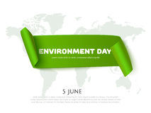 Environment day paper ribbon banner with world map background and space for text Stock Images