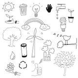 Environment doodle set vector. Icon cartoon environment doodle set vector Stock Images