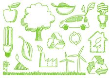 Environment doodles icons. Recycling and conservation stylized doodles. Vector illustration Stock Photos
