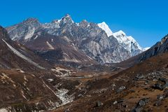 Environment: drained stream and mountains in Himalaya. Pictured in Nepal Royalty Free Stock Photos