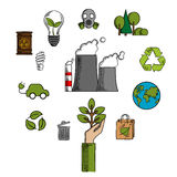 Environment and ecological conservation icons Royalty Free Stock Photos