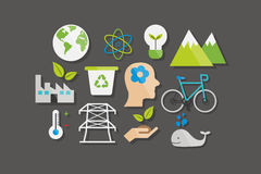 Environment and Ecology Icons Flat Design Vector Illustration Element Icons Set Stock Images