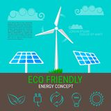 Environment, ecology infographic elements. Wind turbine and solar panels icons. Environment, ecology infographic elements. Wind turbine and solar panels icon Stock Photography