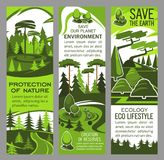 Environment protection banner of eco green nature Stock Photos