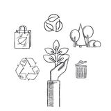 Environment, ecology and save nature sketch icons Stock Photo