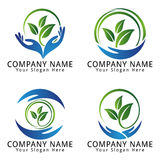 Environment, Ecology, Wellness, Nature, Agriculture with leaf and Hand Concept Logo Royalty Free Stock Photography