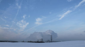 Environment and Energy. Photographed thermal power plant in winter frosty day Royalty Free Stock Images