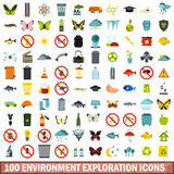 100 environment exploration icons set, flat style. 100 environment exploration icons set in flat style for any design vector illustration Royalty Free Stock Photo
