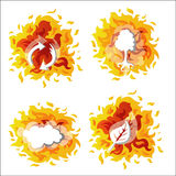 Environment On Fire. Four Icons with fire background stock illustration