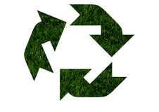 Environment friendly. The recycling symbol in green grass isolated on white background, Environment friendly Royalty Free Stock Images