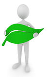 Environment friendly man holding leaf icon. 3d render Royalty Free Stock Images