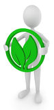 Environment friendly man holding leaves. 3d render Royalty Free Stock Image