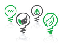 Environment green light bulb icons Royalty Free Stock Photo
