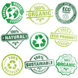 Environment Grunge Stamps. A comprehensive set of high detail Design grunge stamps ecology related, suitable for paper or web publishing Stock Image