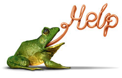 Environment Help. Symbol as a green frog sending a message and communicating with its tongue shaped as a word for the need for assistance to protect natural Stock Images
