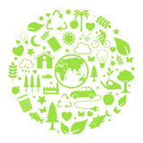 Environment icon in circle. Green, ecology and environment icon in circle Royalty Free Stock Photos