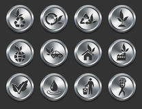 Environment Icons on Metal Internet Buttons Stock Photo