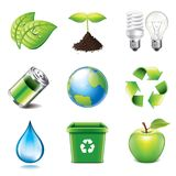 Environment icons photo-realistic vector set. Environment and recycling icons high detailed vector set Stock Photography