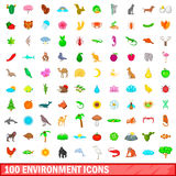100 environment icons set, cartoon style Stock Images