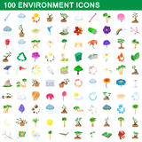 100 environment icons set, cartoon style Stock Photo