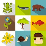 Environment icons set, flat style Stock Images