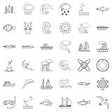 Environment icons set, outline style Stock Image