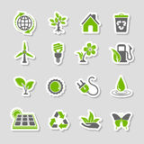 Environment Icons Sticker Set Stock Photos
