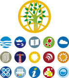 Environment icons (vector). Environmental icons of different activities stock illustration