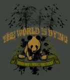 Environment Illustration. An grunge illustration of a sad looking panda bear  sitting in front of some trees, with the words The World Is Dying and We Will Die Stock Images
