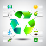 Environment inforgaphics. Green recycle symbol and ecology icons Royalty Free Stock Images