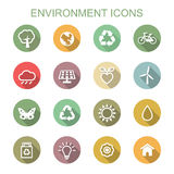 Environment long shadow icons Royalty Free Stock Image