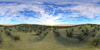 Environment map ,HDRI High resolution map. Round panorama, spherical panorama, equidistant projection, land under heaven Royalty Free Stock Image