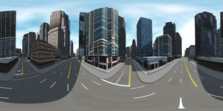 Environment map. HDRI map. Equirectangular projection. Spherical panorama. Cityscape Stock Photo