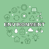 Environment minimal outline icons Royalty Free Stock Images