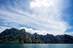 Environment of mountains and river natural attractions. In Ratchaprapha Dam at Khao Sok National Park, Surat Thani Province, Thailand Royalty Free Stock Photos