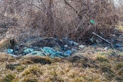 Garbage dump on the grass near the forest ecological disaster concept polluting nature and city park with litter and junk. Environment and nature pollution stock image