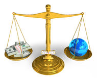 Environment pollution concept. Blue Earth globe and stacks of dollars on golden scales isolated over white background Royalty Free Stock Images