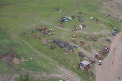 Environment Pollution, dump of old cars - Aerial Stock Photography