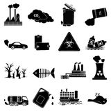 Environment pollution icons set. In black Royalty Free Stock Images
