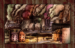 Environment polution. Some huge metallurgical plant smokes, placed into a rusty frame. Environment pollution is not a pleasant view Stock Photos